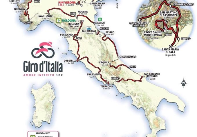 Meno 12 al Giro d'Italia numero 102